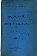 Pdf I Manoscritti Della Biblioteca Moreniana