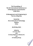 Proceedings of the 5th International Conference on IS Management and Evaluation 2015