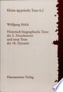 Historisch-biographische Texte der 2. Zwischenzeit und neue Texte der 18. Dynastie