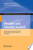 Metadata And Semantic Research Book PDF