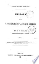 History Of The Literature Of Ancient Greece By K O M Ller