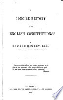 A Concise History of the English Constitution