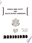 Decisions   Federal Mine Safety and Health Review Commission
