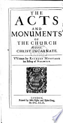 The Acts and Monuments of the Church Before Christ Incarnate Book