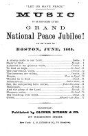 Music to be Performed at the Grand National Peace Jubilee
