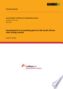 Development of a marketing plan for the South African solar energy market Book