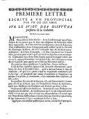Premiere lettre escrite a vn prouincial par vn de ses amis. Sur le suiet des disputes presentes de la Sorbonne. De Paris ce 23. Ianuier 1656