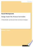 Hedge Funds  The Protean Survivalists Book