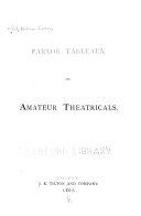 Parlor Tableaux and Amateur Theatricals
