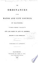 Ordinances Of The Mayor And City Council