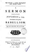 Past Salvation A Present Encouragement Under National Troubles A Sermon Preached November 3 1745 On Occasion Of The Present Rebellion By Richard Winter