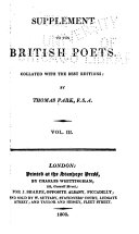 The Works of the British Poets: Critique on Paradise lost by Joseph Addison, with remarks on the versification of Milton, by Samuel Johnson