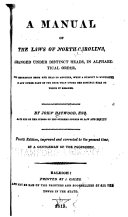 A Manual of the Laws of North Carolina