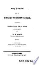 Einige Bruchstücke aus der Geschichte der Stadt Stralsund