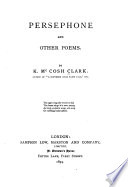 Persephone and Other Poems