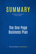 Summary: The One Page Business Plan