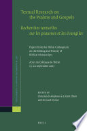 Textual Research On The Psalms And Gospels Recherches Textuelles Sur Les Psaumes Et Les Vangiles