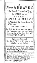 A name in Heaven the truest ground of joy ... and The power of grace, 2 discourses