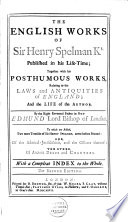 English Works, Published in His Life-time