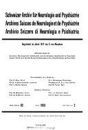Archives suisses de neurologie  neurochirurgie et de psychiatrie