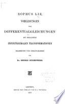 Vorlesungen über differentialgleichungen mit bekannten infinitesimalen transformationen