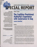 The Coalition Provisional Authority s Experience with Governance in Iraq
