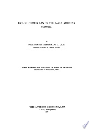 Download English Common Law in the Early American Colonies Free Books - Reading Bestseller Books For Free