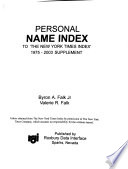 Personal Name Index to