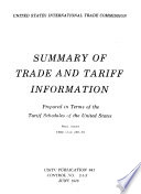 Summary Of Trade And Tariff Information Prepared In Terms Of The Tariff Schedules Of The United States