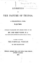 Lucretius On the Nature of Things