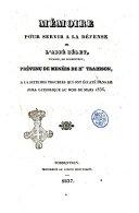 Mémoire pour servir à la défense de l'abbé Bélet prévenu de menées de h.te trahison, à la suite des troubles qui ont éclaté dans le Jura catholique au mois de mars 1836