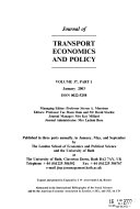 Journal of Transport Economics and Policy Book
