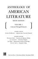 Anthology of American Literature  Colonial through romantic
