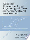 Adapting Educational and Psychological Tests for Cross Cultural Assessment Book