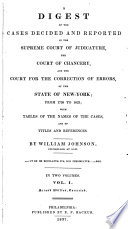 A Digest of the Cases Decided and Reported in the Supreme Court of Judicature  the Court of Chancery  and the Court for the Correction of Errors  of the State of New York