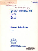 Energy Information Data Base  Corporate Author Entries