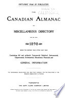 The Canadian Almanac and Miscellaneous Directory Book PDF