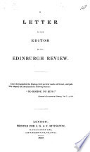 A Letter to the Editor of the Edinburgh Review Book