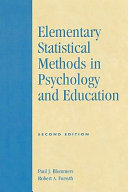 Elementary Statistical Methods in Psychology and Education Book