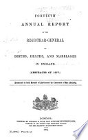 Annual Report of the Registrar-General of Births, Deaths and Marriages in England