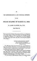 On the meteorological and physical effects of the solar eclipse of March 15, 1858