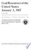 Coal Resources of the United States  January 1  1967 Book