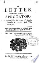 A Letter Signed George Cavalier To The Late Author The Spectator Occasion D By His Paper Of December 6