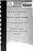 Letter of R C  Waterston to the Members of the Boston School Board