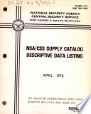 NSA CSS supply catalog descriptive data listing Book
