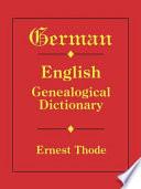German English Genealogical Dictionary Book