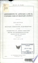 Amendments to Articles 2 and 36, Uniform Code of Military Justice