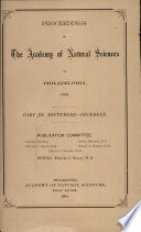 Proceedings Of The Academy Of Natural Sciences Part Iii Sept Dec 1900