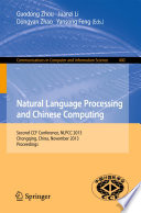 Natural Language Processing and Chinese Computing Book