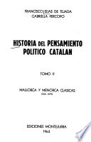 Historia del pensamiento político catalán: Mallorca y Menorca clásicas, 1231-1479, por F. Elías de Tejeda y G. Percopo